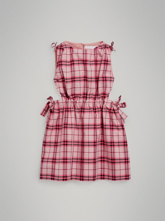 Tie Detail Check Cotton Dress in Bright Rose - Girl | Burberry - cell image 2