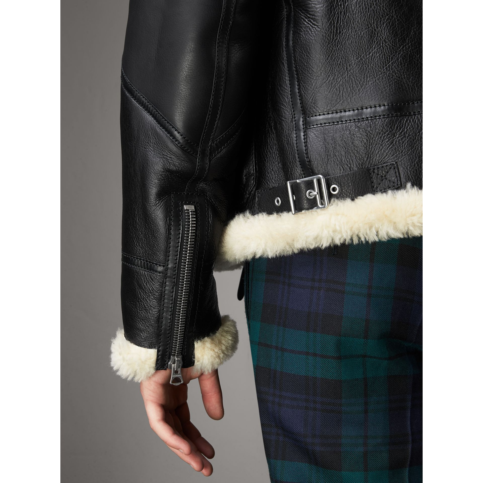 Shearling Aviator Jacket in Black - Men | Burberry - gallery image 6