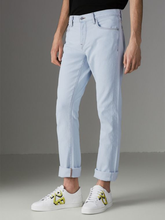 Straight Fit Bleached Japanese Denim Jeans in Ice Blue