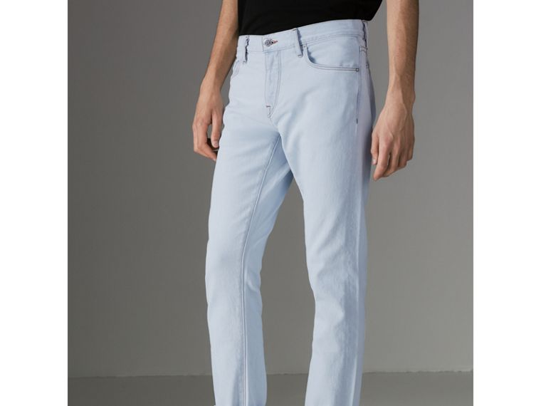Straight Fit Bleached Japanese Denim Jeans in Ice Blue - Men | Burberry United States - cell image 4