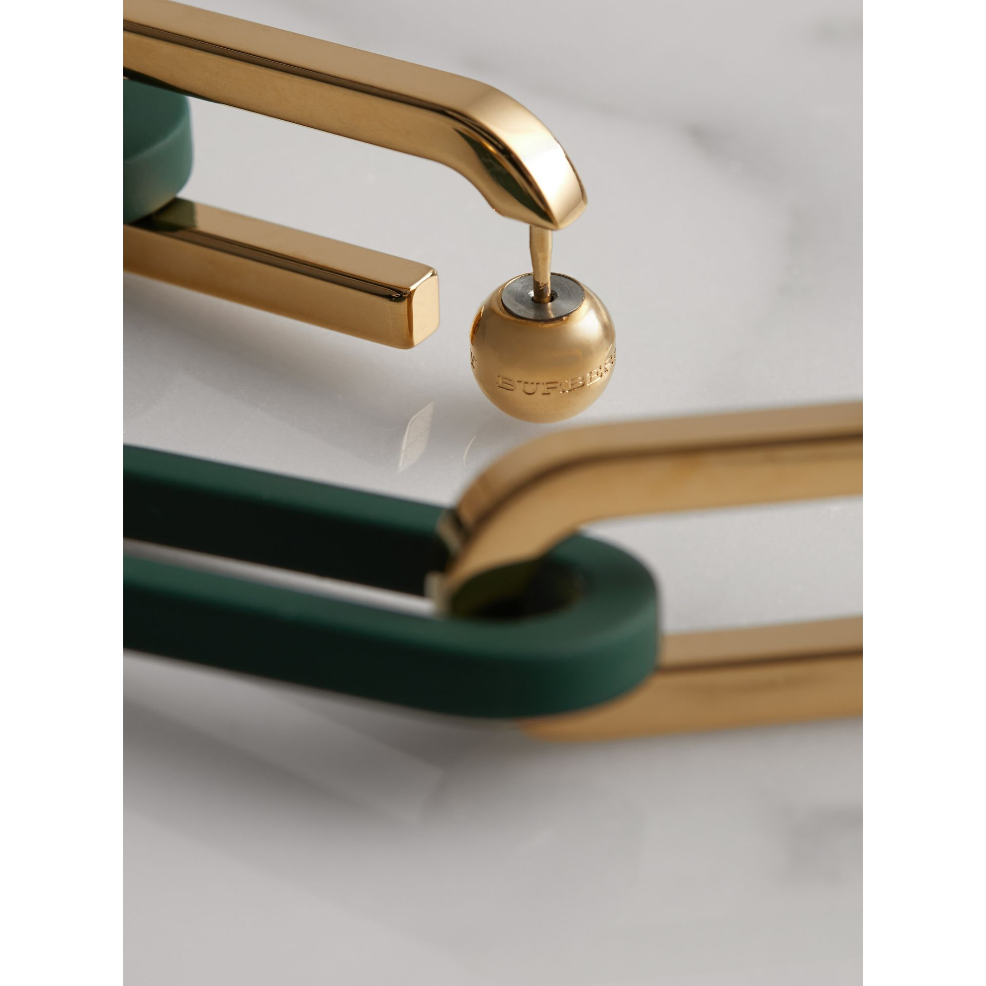Rubberised and Gold-plated Link Drop Earrings in Light Gold/sea Green - Women | Burberry - gallery image 1