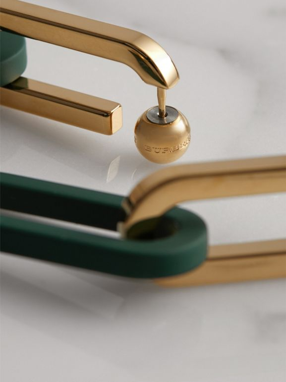 Rubberised and Gold-plated Link Drop Earrings in Light Gold/sea Green - Women | Burberry - cell image 1