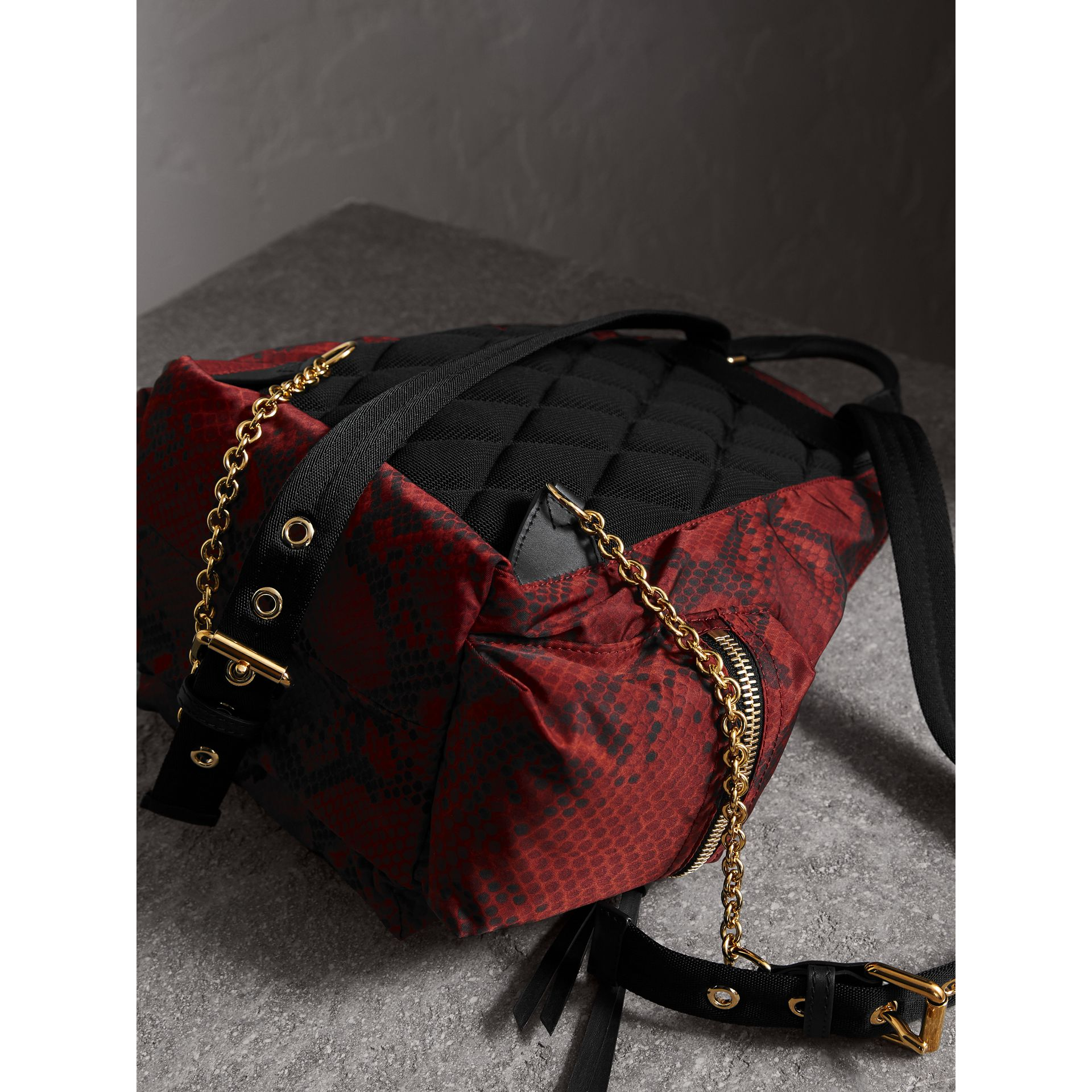 The Medium Rucksack in Python Print Nylon and Leather in Burgundy Red - gallery image 4