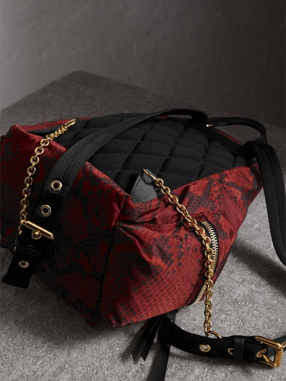 The Medium Rucksack in Python Print Nylon and Leather in Burgundy Red - cell image 3
