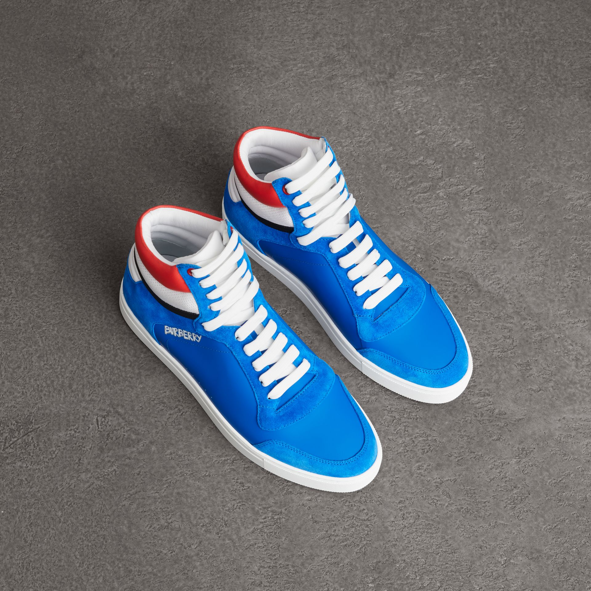 Leather and Suede High-top Sneakers in Bright Sky Blue - Men | Burberry - gallery image 0