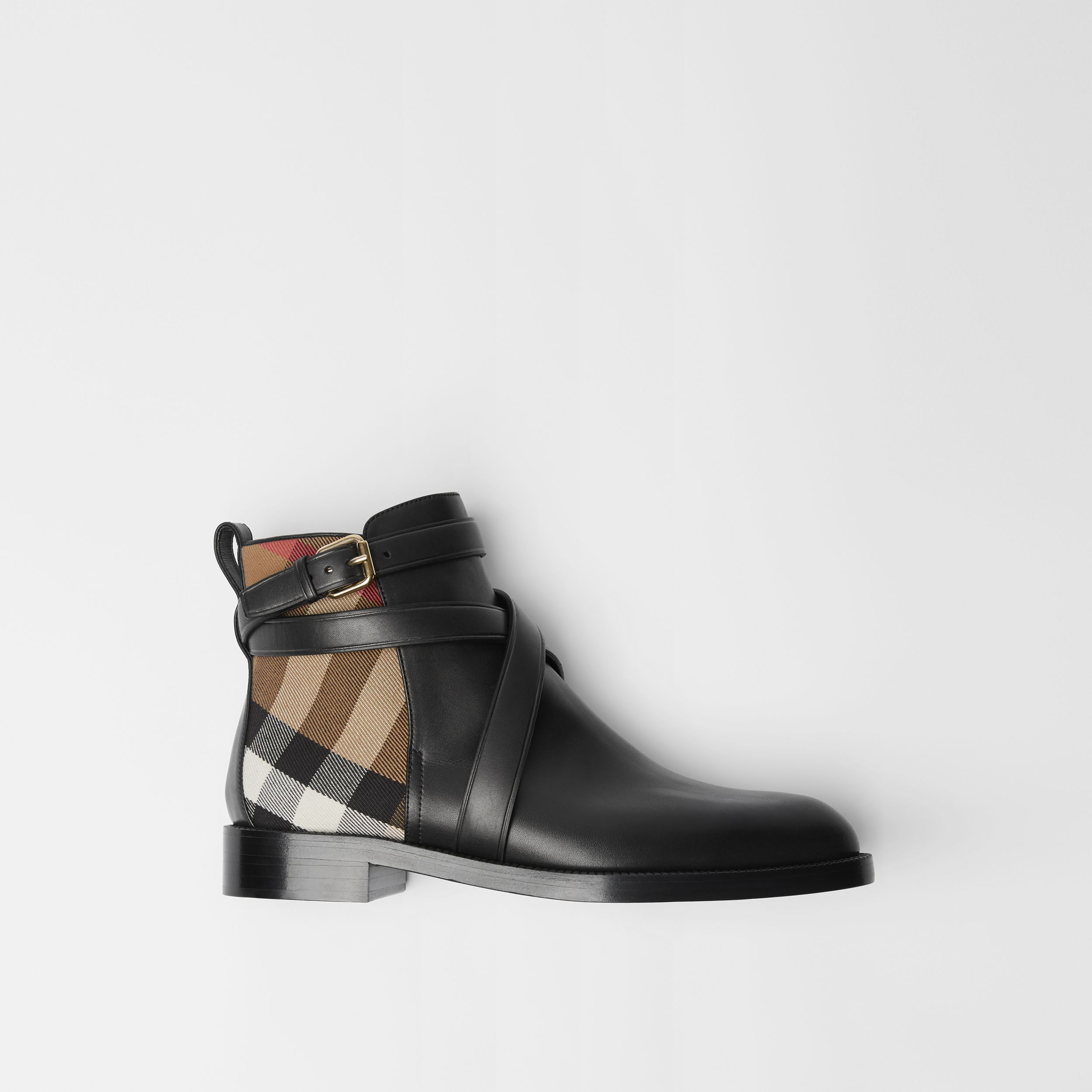 House Check and Leather Ankle Boots in Black - Women | Burberry United Kingdom - 1