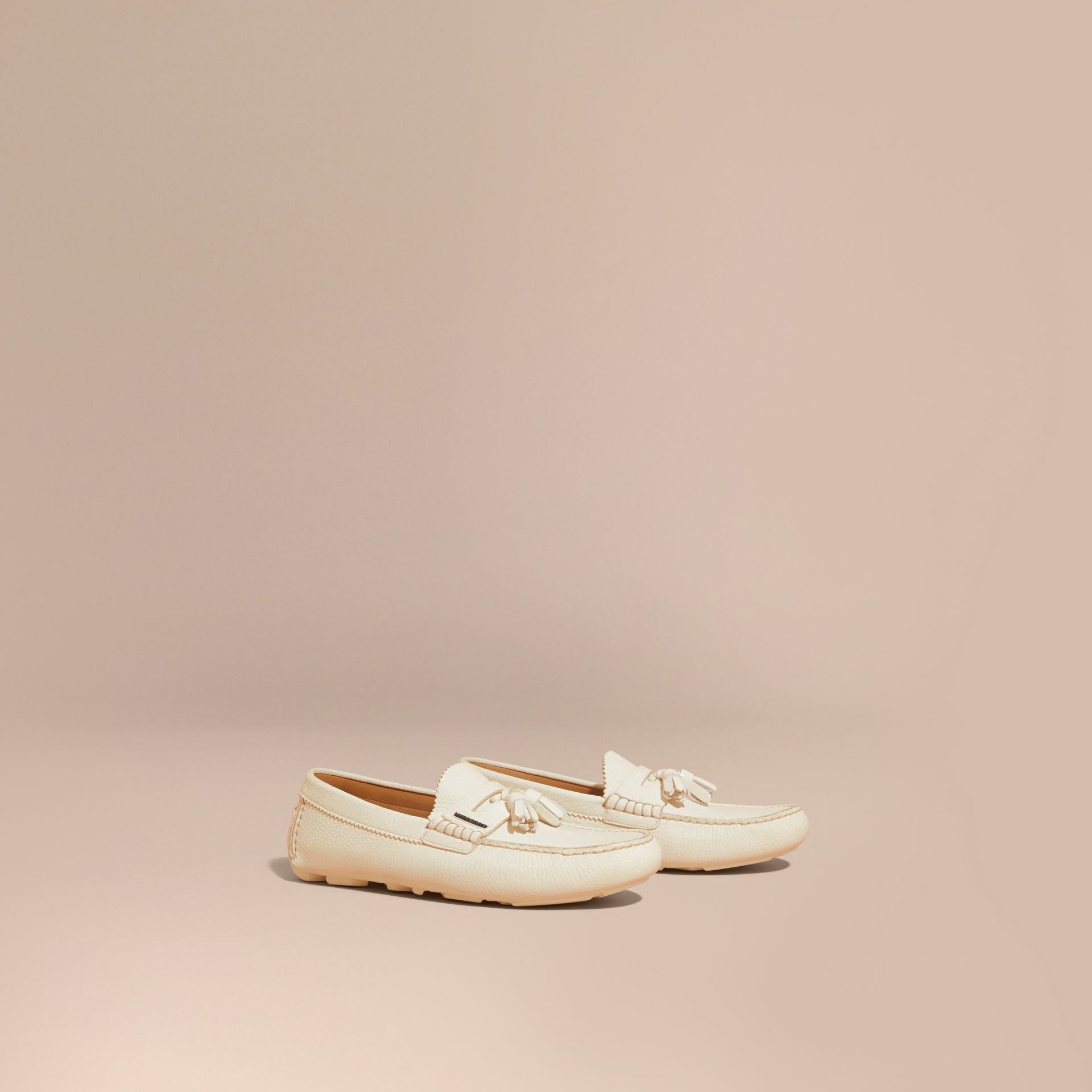 Tasselled Grainy Leather Loafers in Off White - gallery image 1