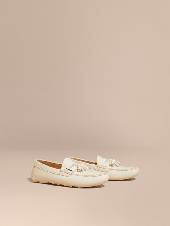 Tasselled Grainy Leather Loafers in Off White