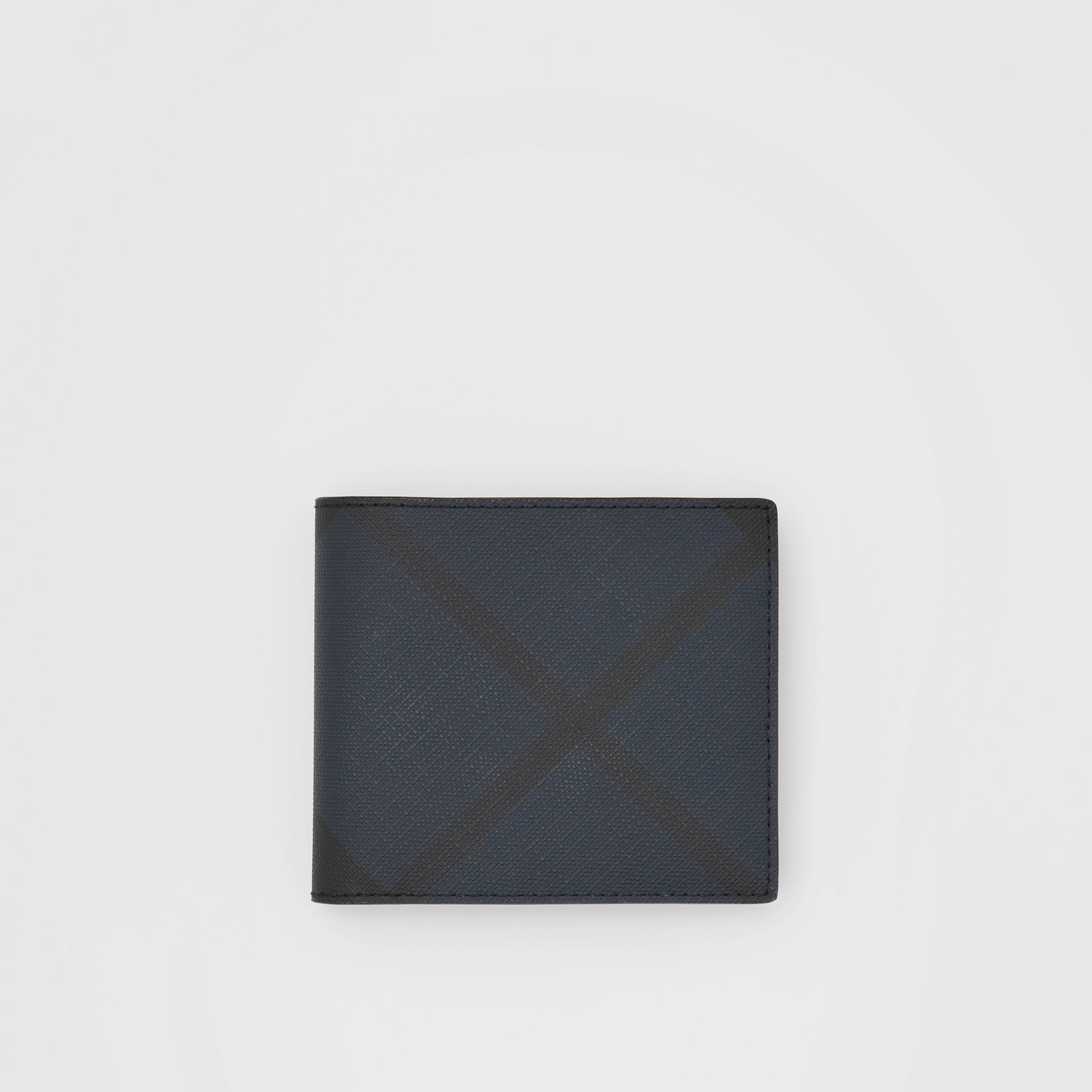 London Check and Leather International Bifold Wallet in Navy - Men | Burberry United Kingdom - gallery image 0