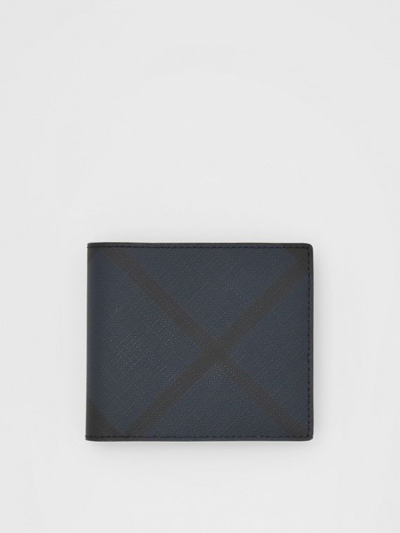 London Check and Leather International Bifold Wallet in Navy