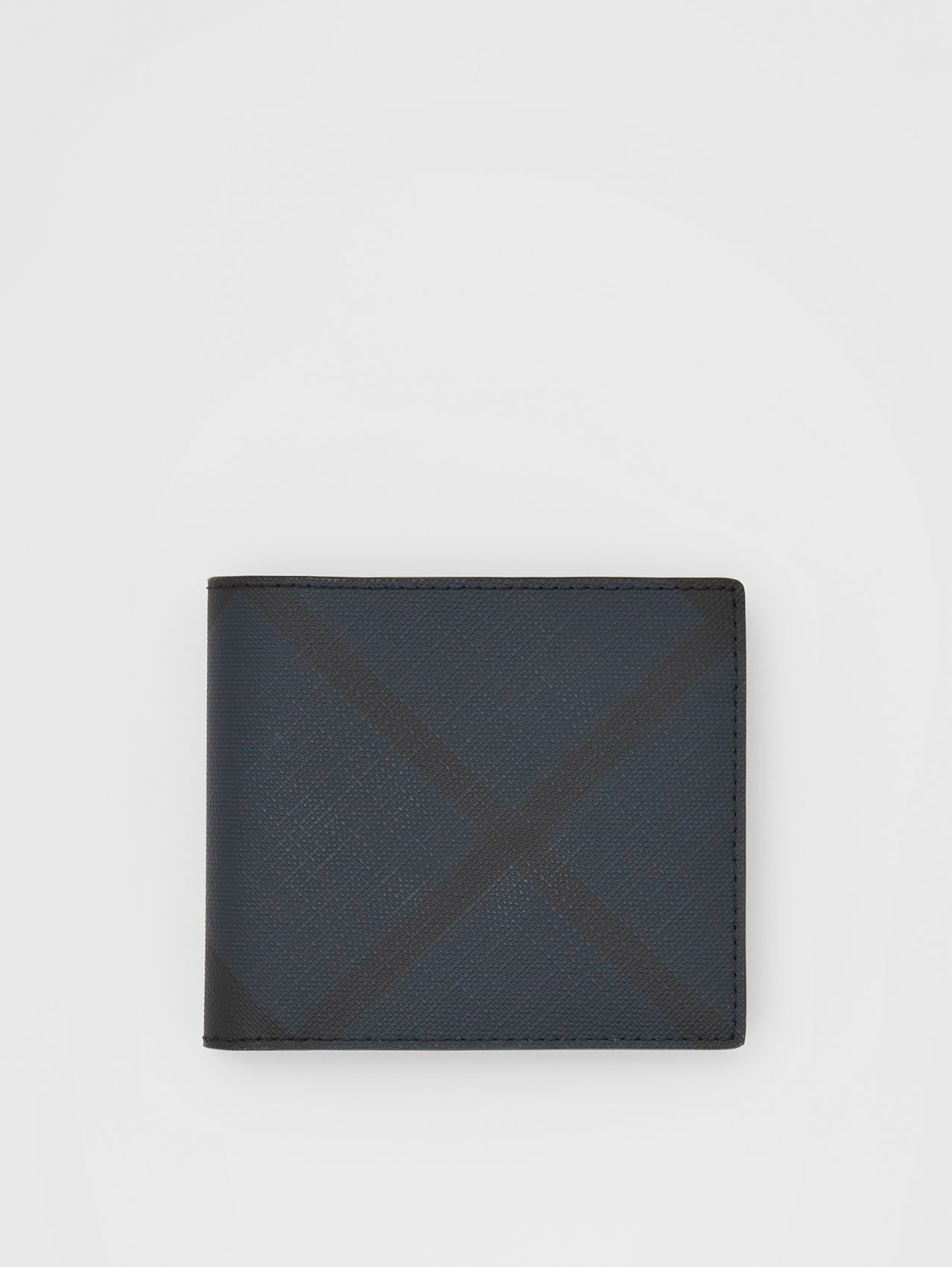 London Check and Leather International Bifold Wallet (Navy)