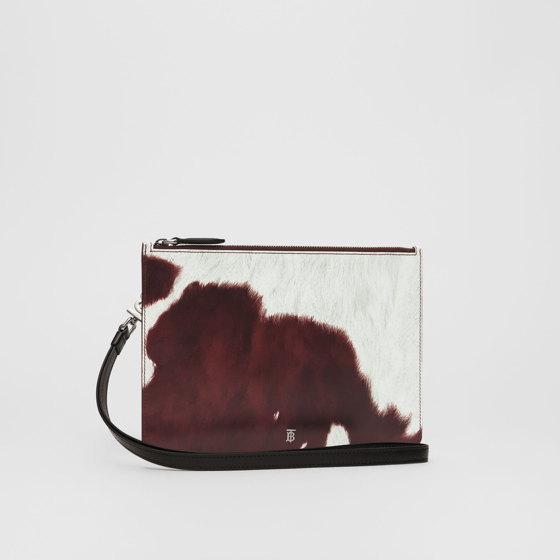 Cow Print Leather Zip Pouch in Mahogany - Women | Burberry - gallery image 4