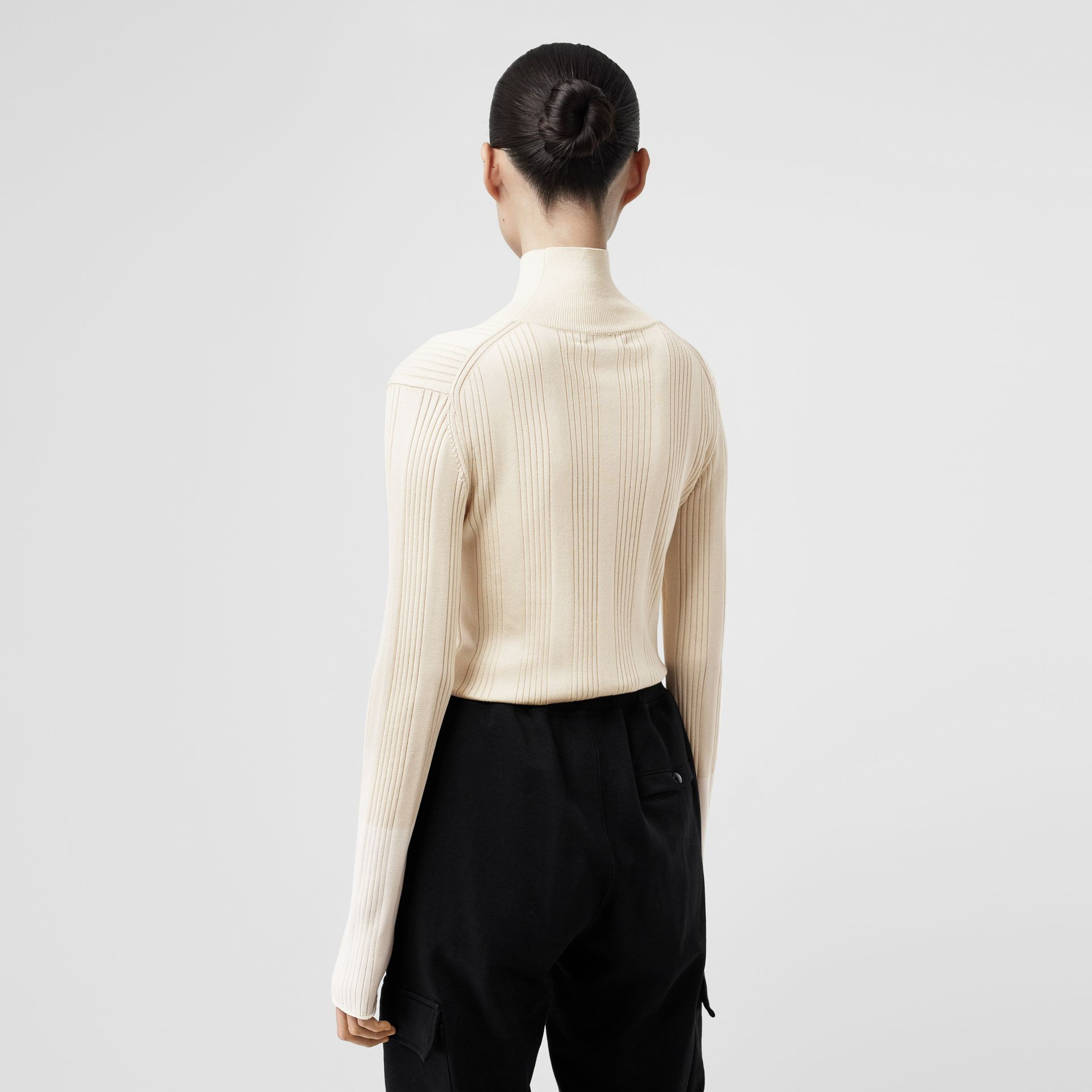 Rib Knit Silk Turtleneck Sweater in Natural White - Women | Burberry - gallery image 2