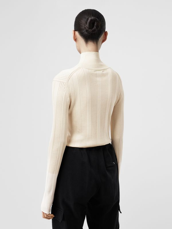 Rib Knit Silk Turtleneck Sweater in Natural White - Women | Burberry - cell image 2