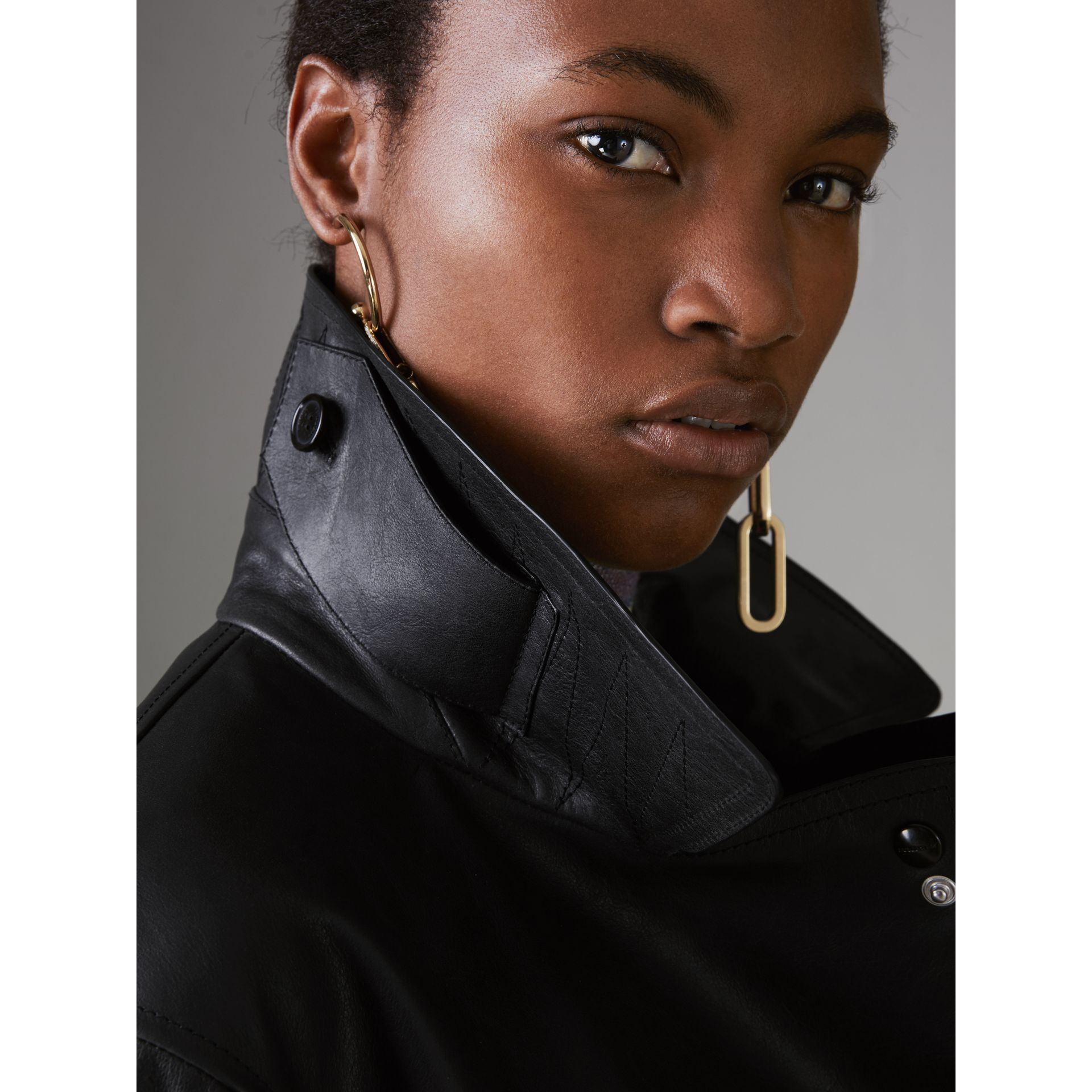 Tartan-lined Leather Biker Jacket in Black - Women | Burberry United States - gallery image 4