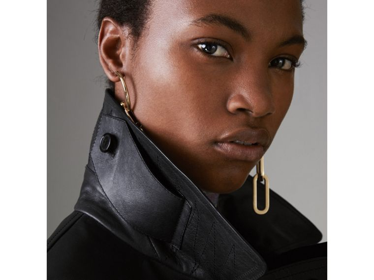 Tartan-lined Leather Biker Jacket in Black - Women | Burberry - cell image 4