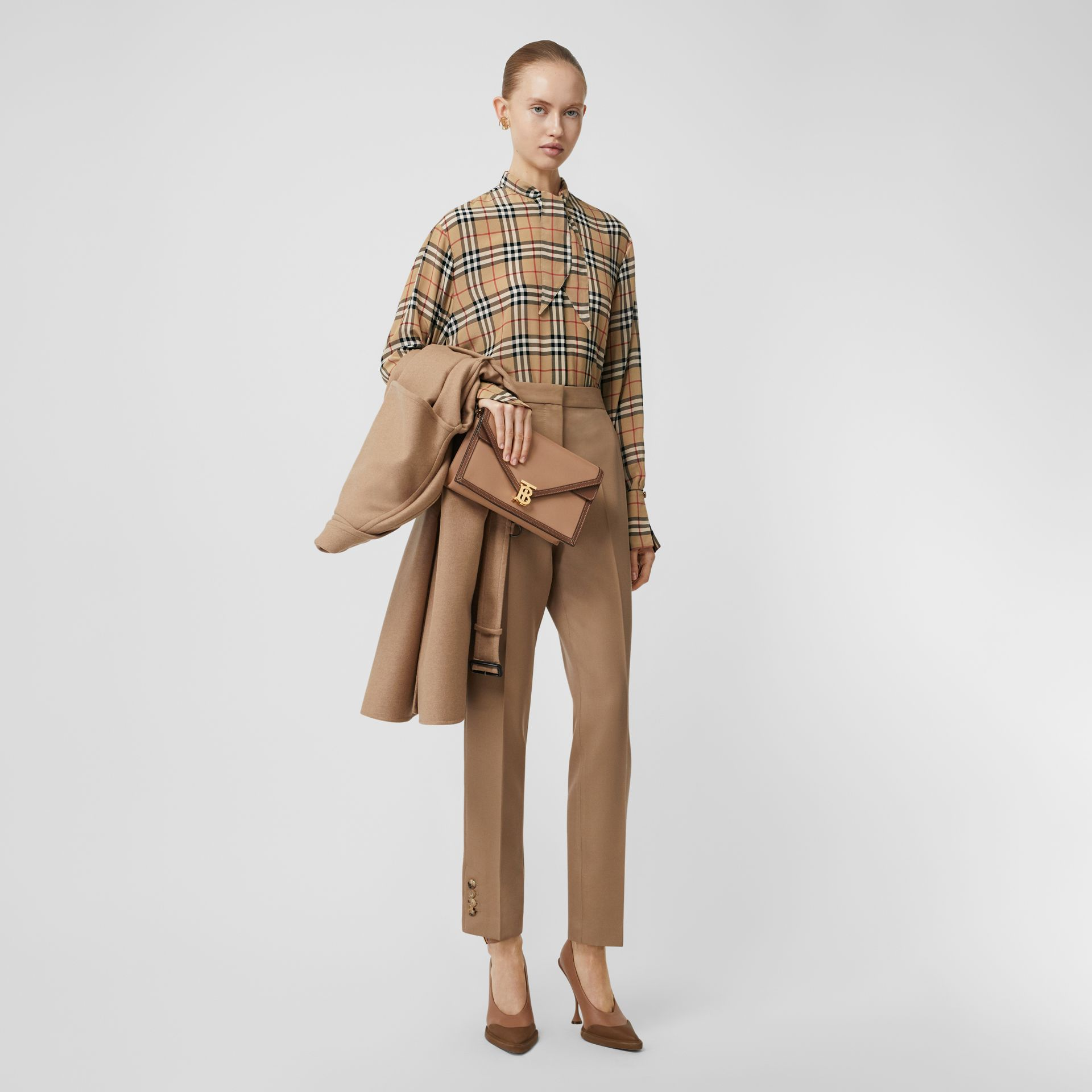 Vintage Check Silk Tie-neck Shirt in Archive Beige - Women | Burberry Singapore - gallery image 0