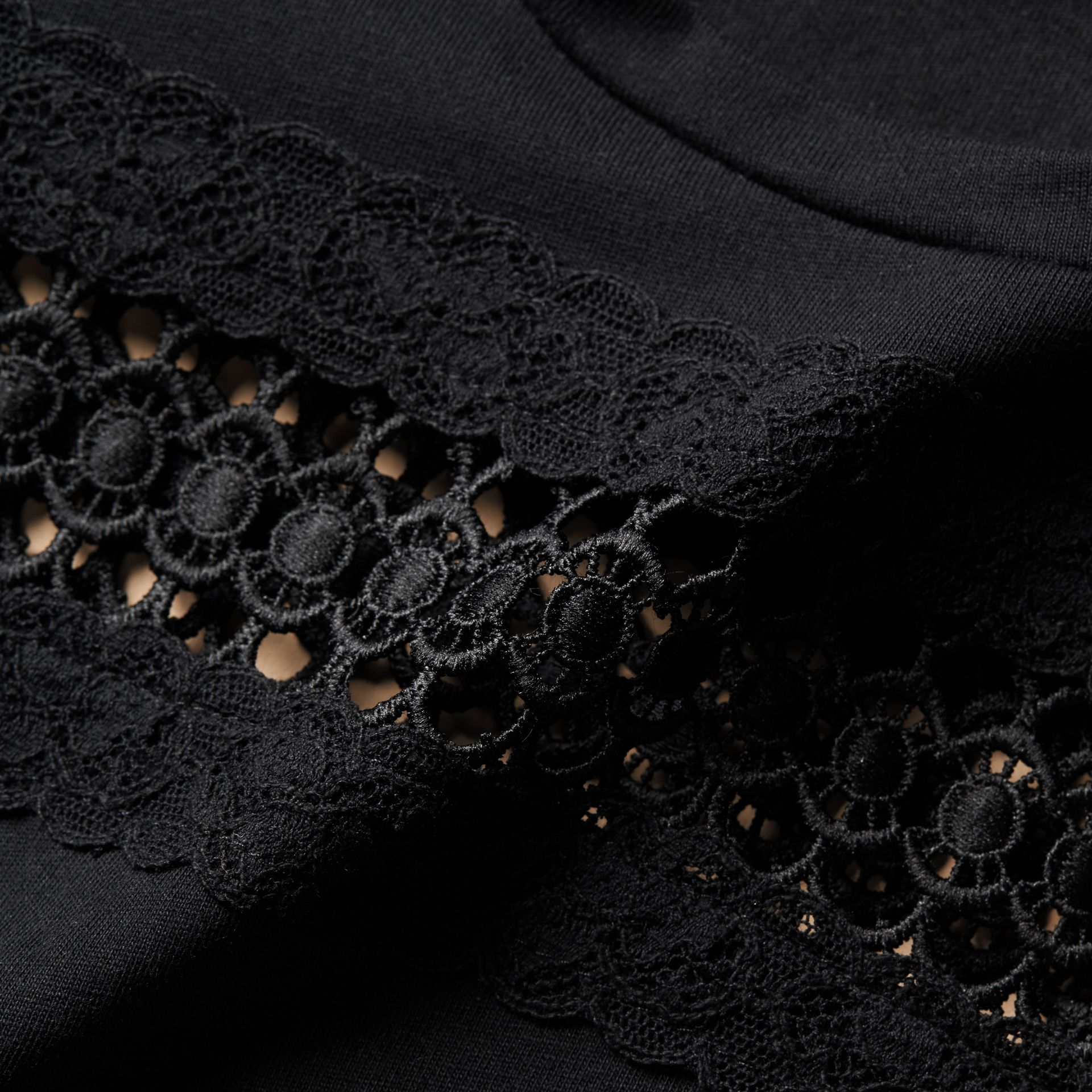 Lace Detail Cotton T-shirt Black - gallery image 2