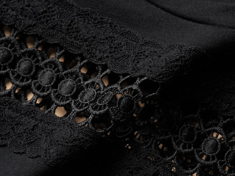 Lace Detail Cotton T-shirt Black - cell image 1