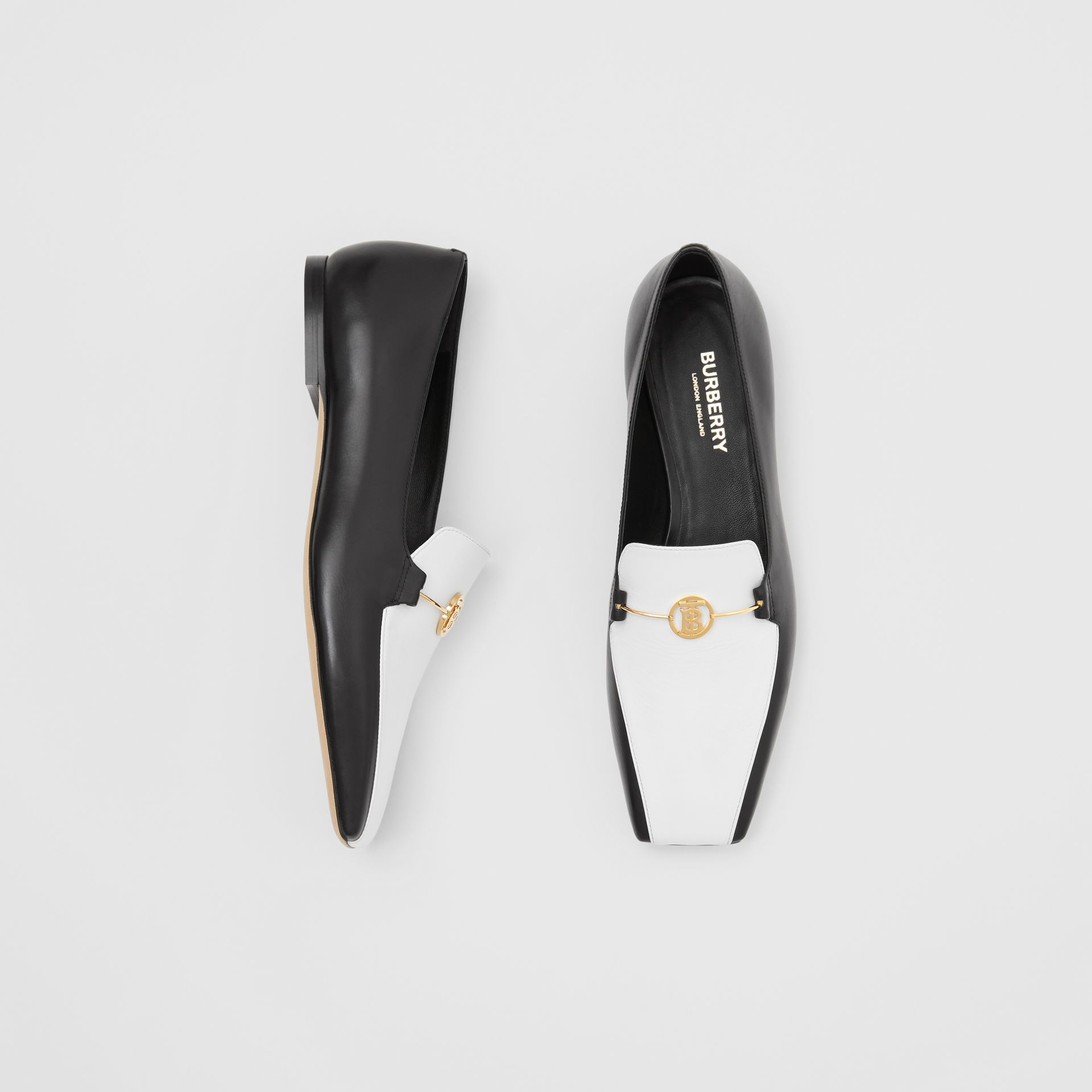 Monogram Motif Two-tone Leather Loafers in Black/white - Women | Burberry United States - gallery image 0