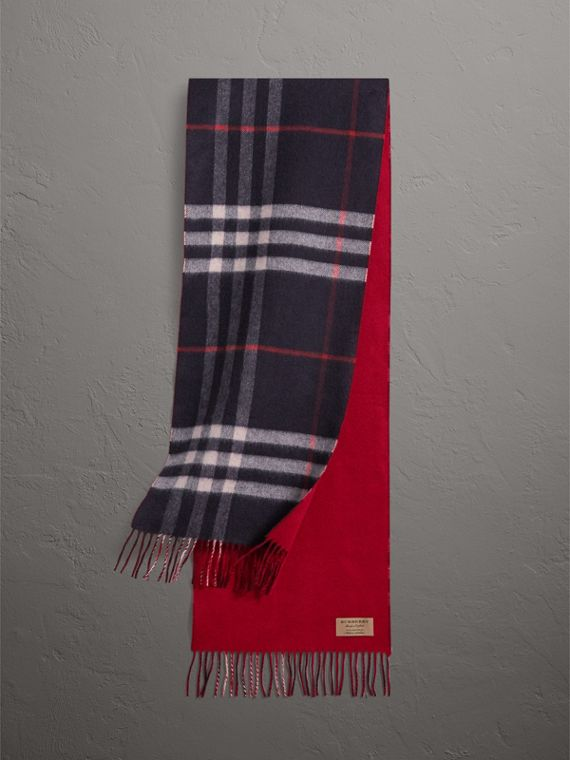 Reversible Check Cashmere and Block-colour Scarf in Navy