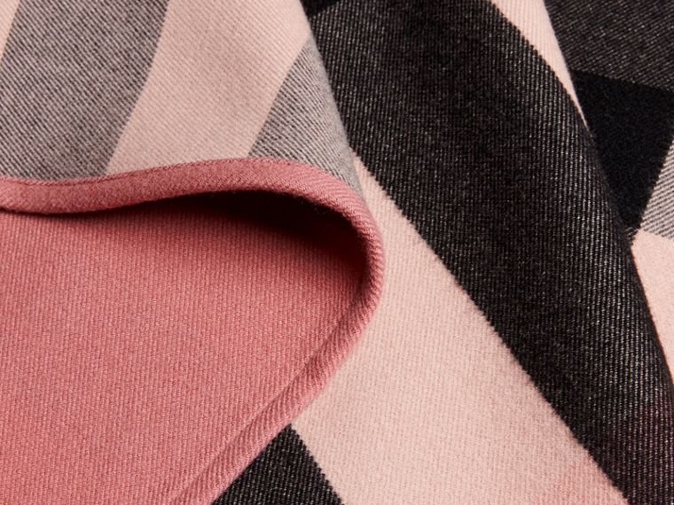 Reversible Check Merino Wool Poncho in Ash Rose - Women | Burberry - cell image 1
