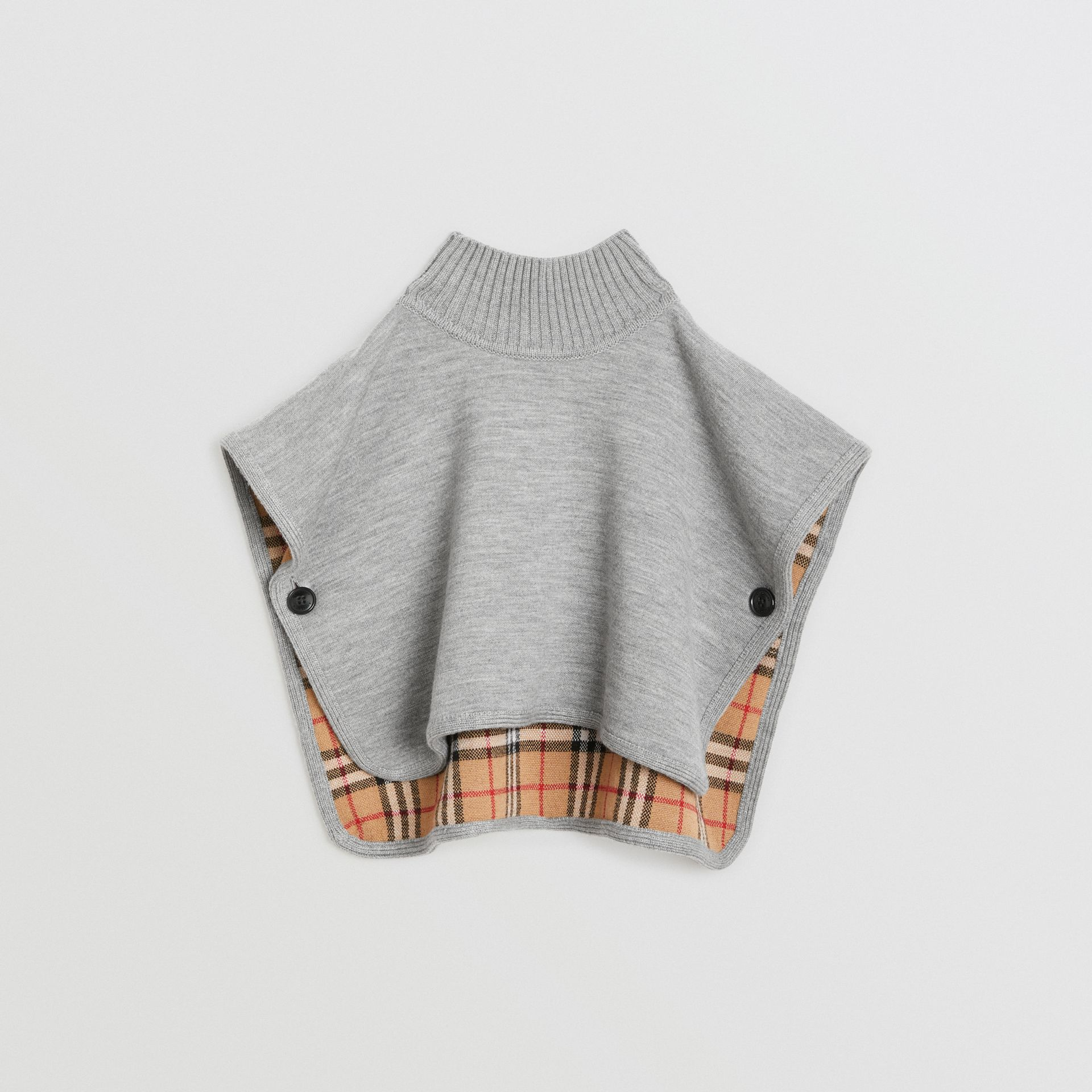 Reversible Check Merino Wool Jacquard Poncho in Grey Melange - Children | Burberry United States - gallery image 0