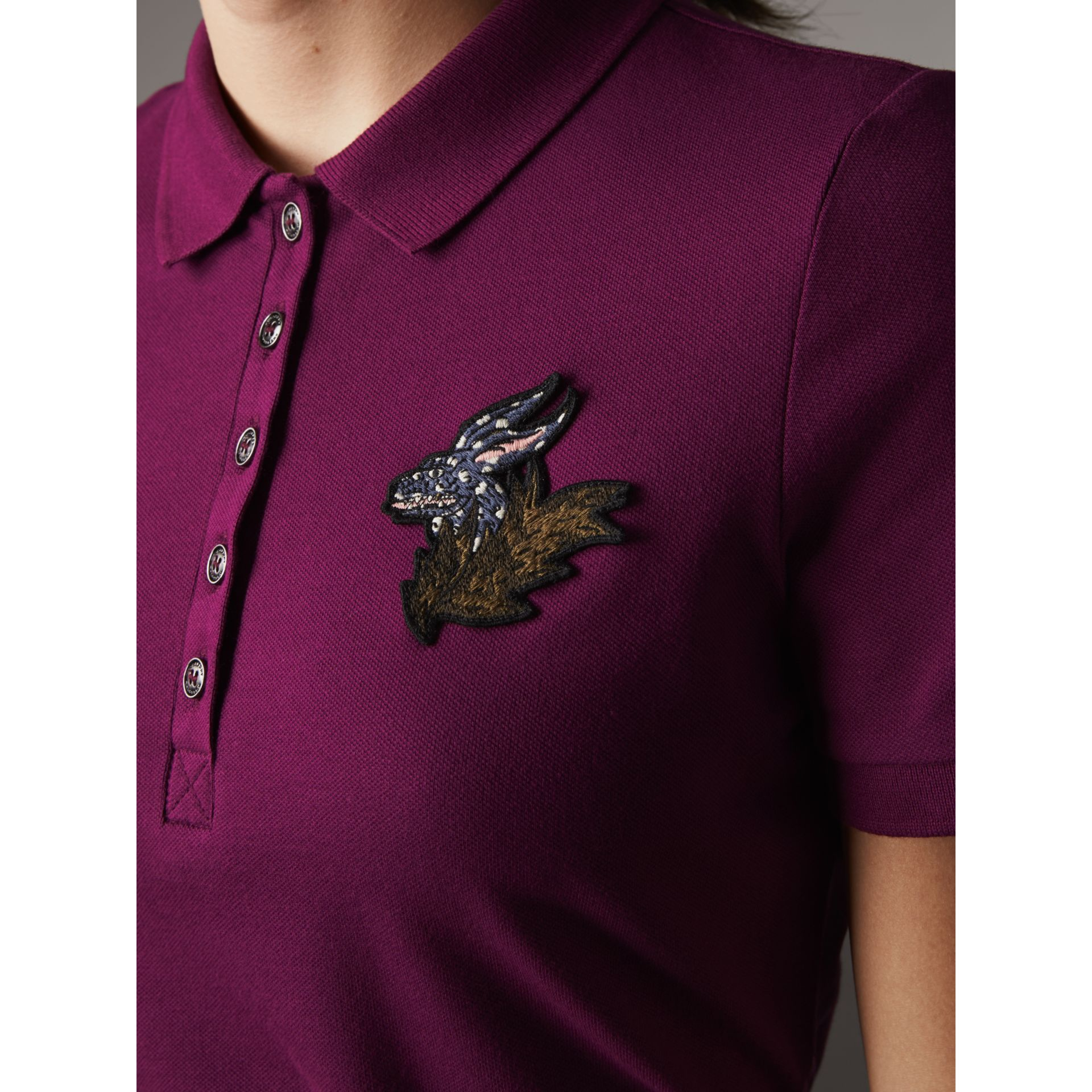 Beasts Motif Stretch Cotton Piqué Polo Shirt in Magenta Pink - Women | Burberry Singapore - gallery image 2
