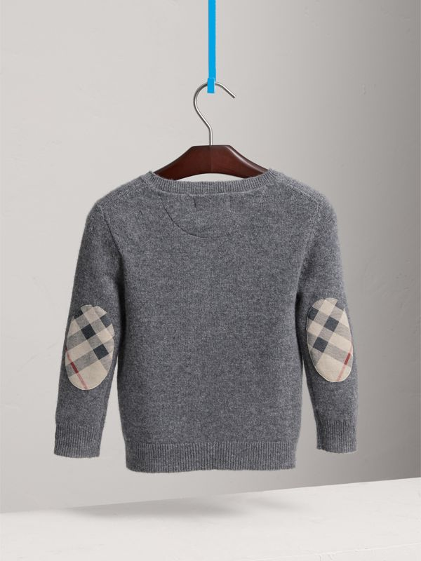 Check Elbow Patch Cashmere Sweater in Mid Grey Melange - Boy | Burberry - cell image 3