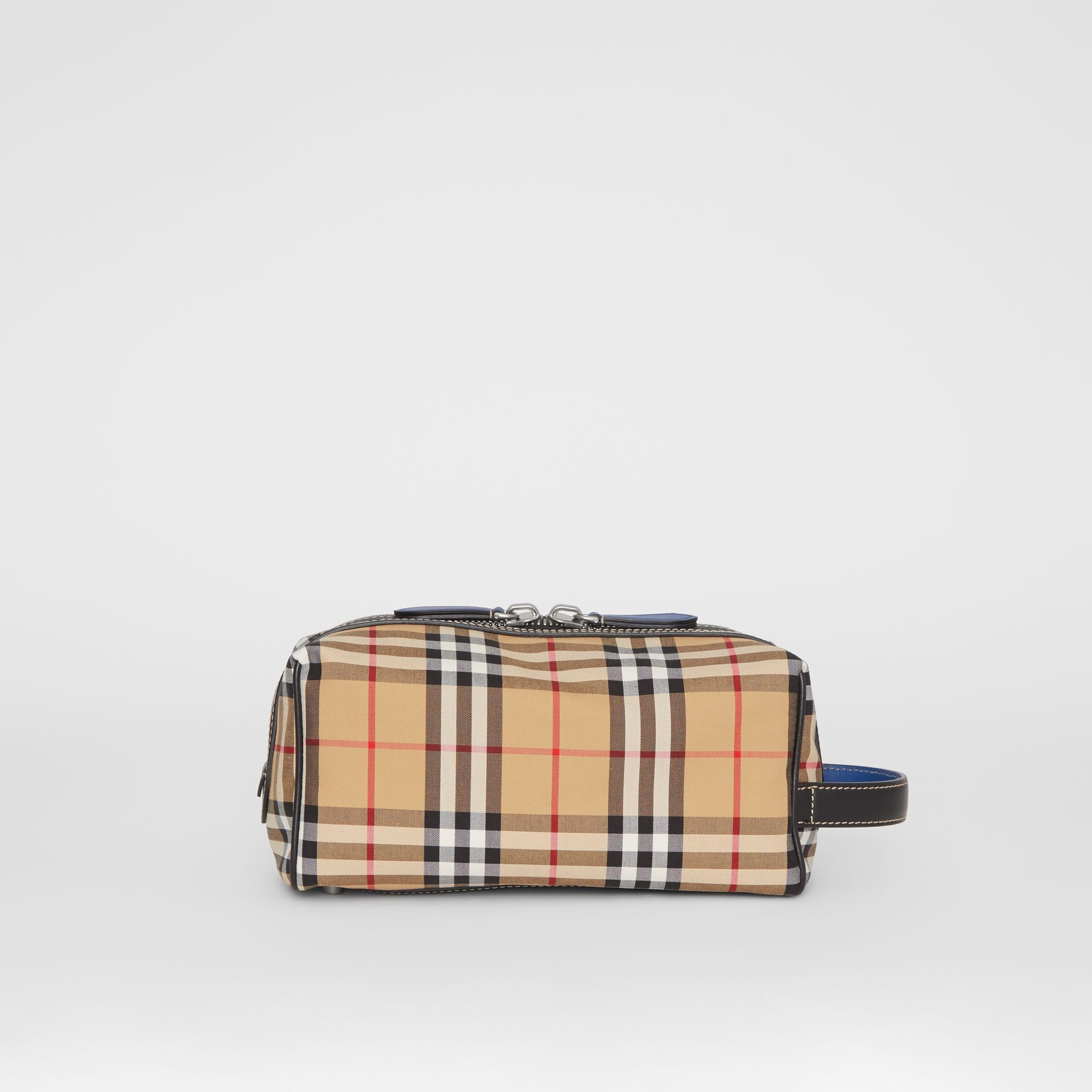 Vintage Check and Leather Pouch in Dark Cyan | Burberry Australia - gallery image 3