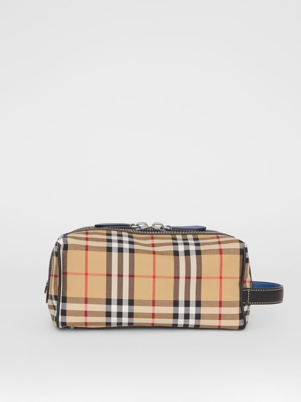 Vintage Check and Leather Pouch in Dark Cyan | Burberry Australia - cell image 3