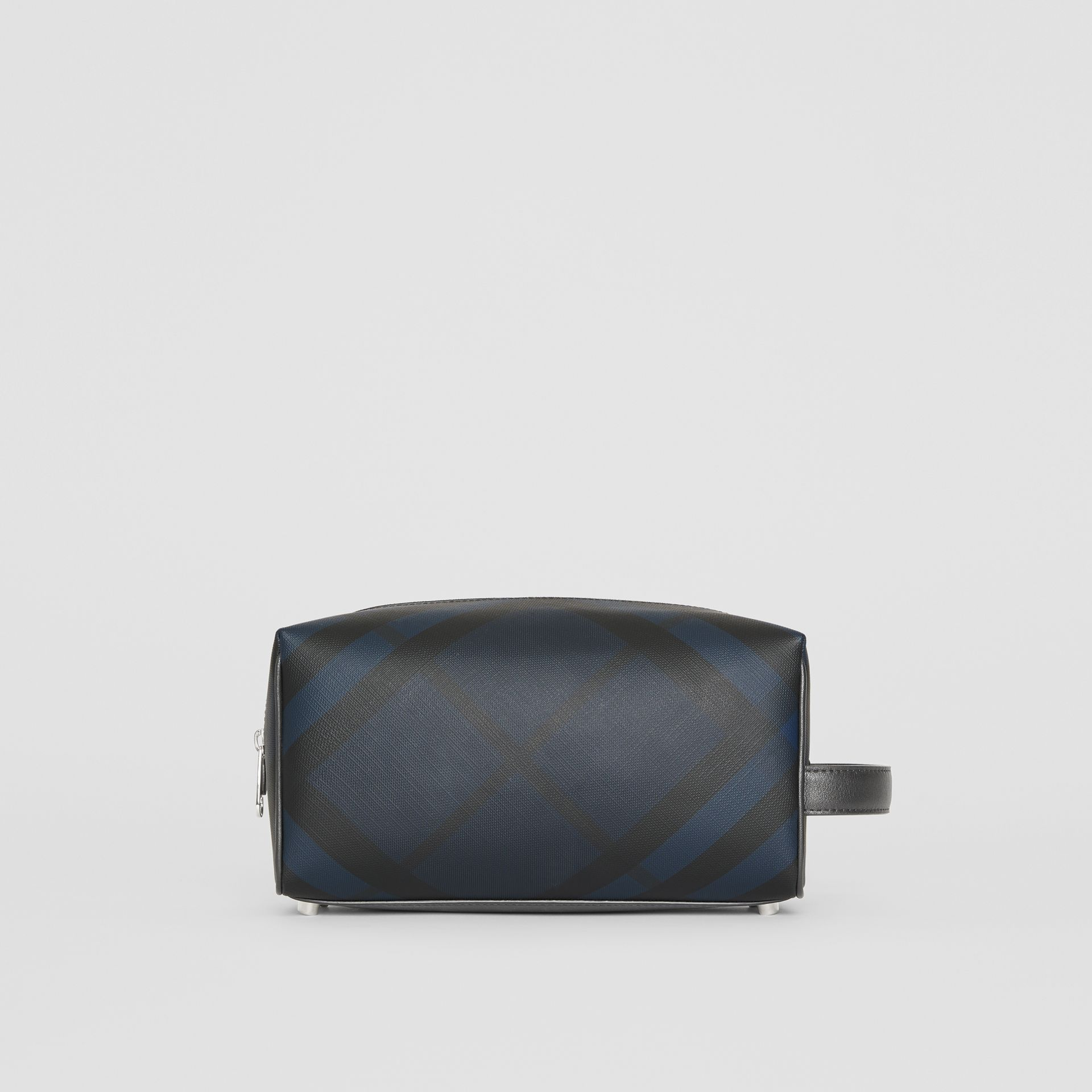 London Check and Leather Pouch in Navy/black - Men | Burberry Canada - gallery image 4