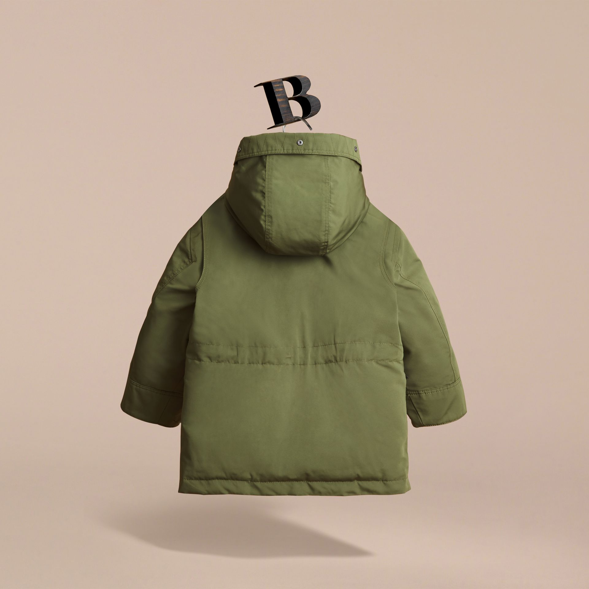 Fur-trimmed Down-filled Hooded Puffer Coat in Sage - Boy | Burberry United Kingdom - gallery image 4