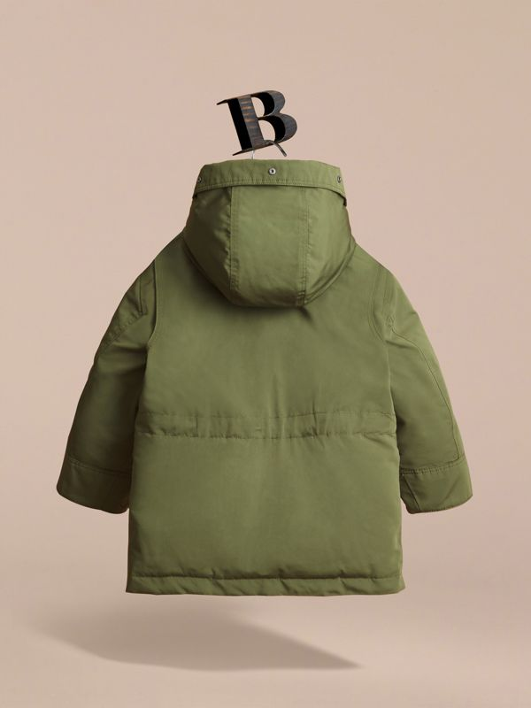 Fur-trimmed Down-filled Hooded Puffer Coat in Sage | Burberry - cell image 3
