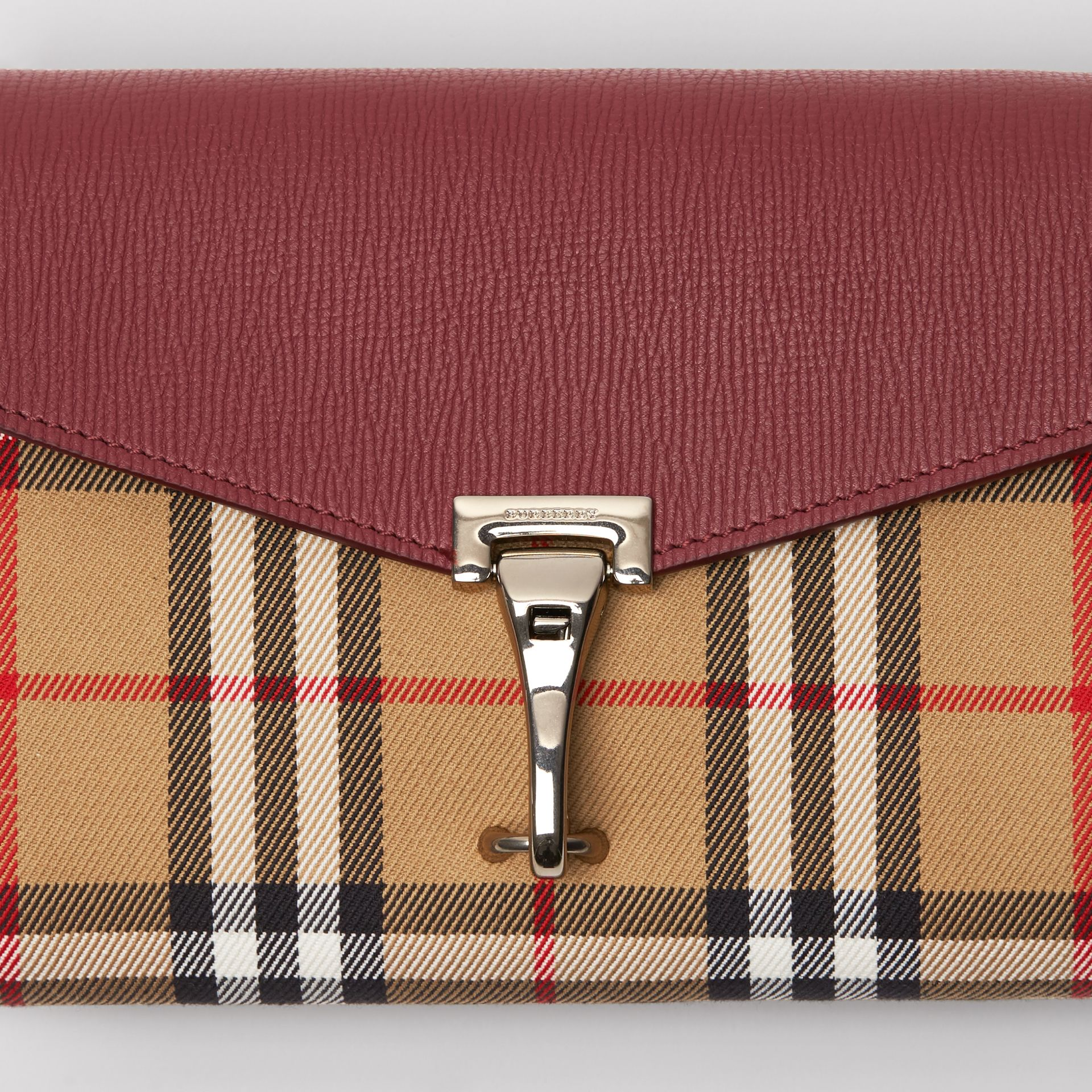 Mini Leather and Vintage Check Crossbody Bag in Crimson - Women | Burberry Australia - gallery image 1