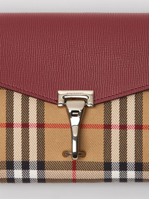 Mini Leather and Vintage Check Crossbody Bag in Crimson - Women | Burberry United Kingdom - cell image 1