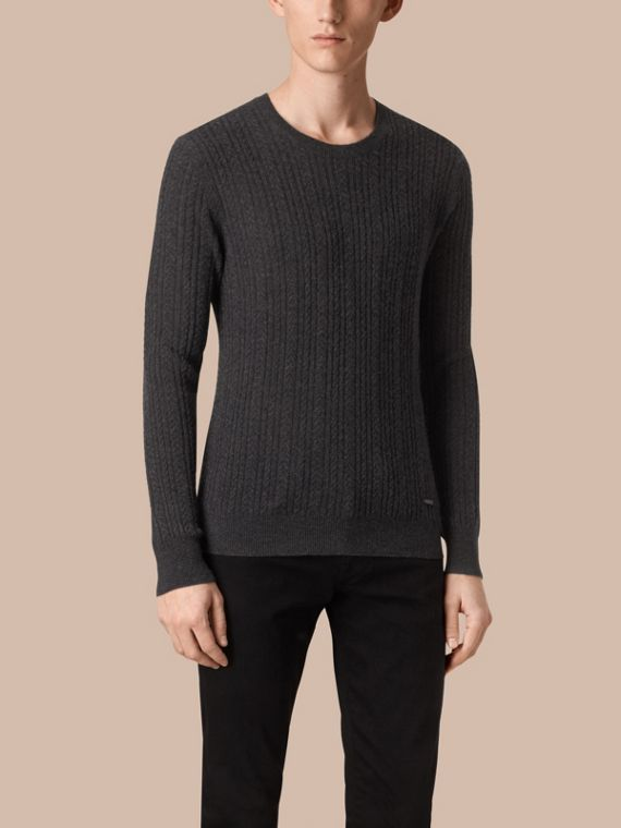 Aran Knit Cashmere Sweater in Charcoal - cell image 3