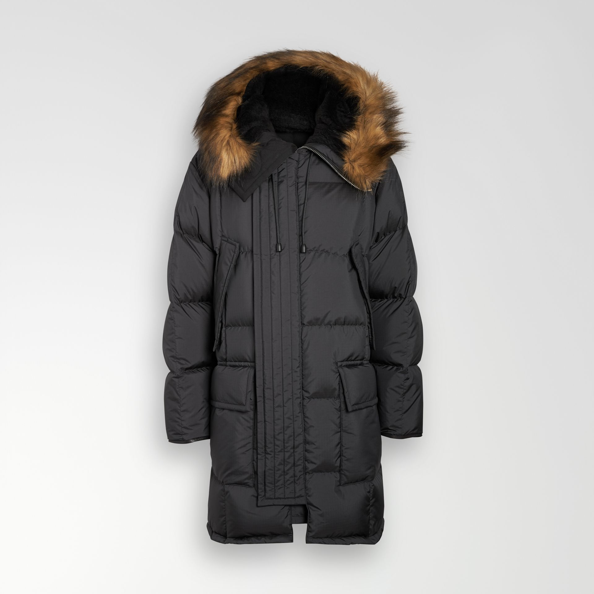 Faux Fur Trim Down-filled Hooded Parka in Black - Men | Burberry - gallery image 3