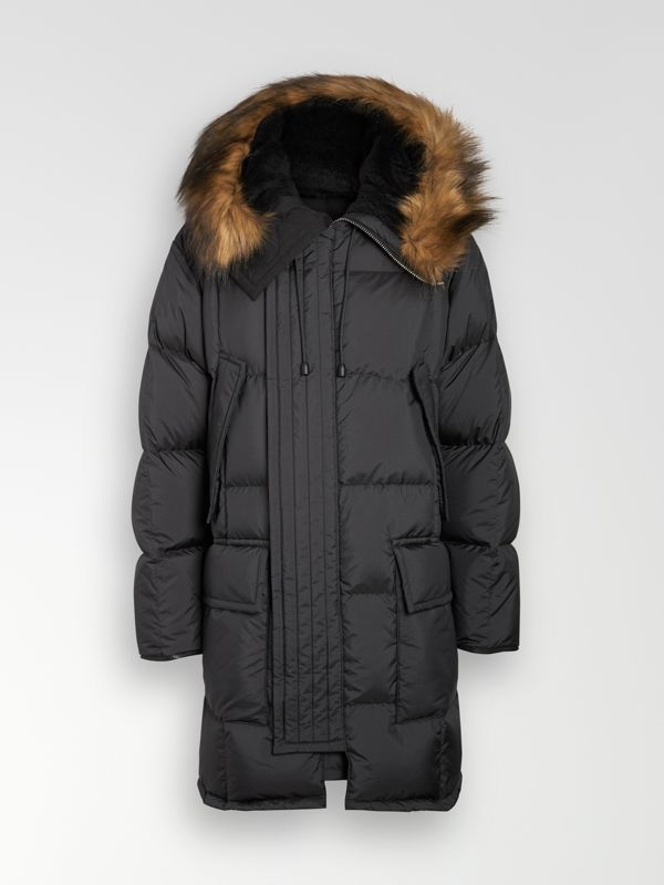 Faux Fur Trim Down-filled Hooded Parka in Black - Men | Burberry - cell image 3