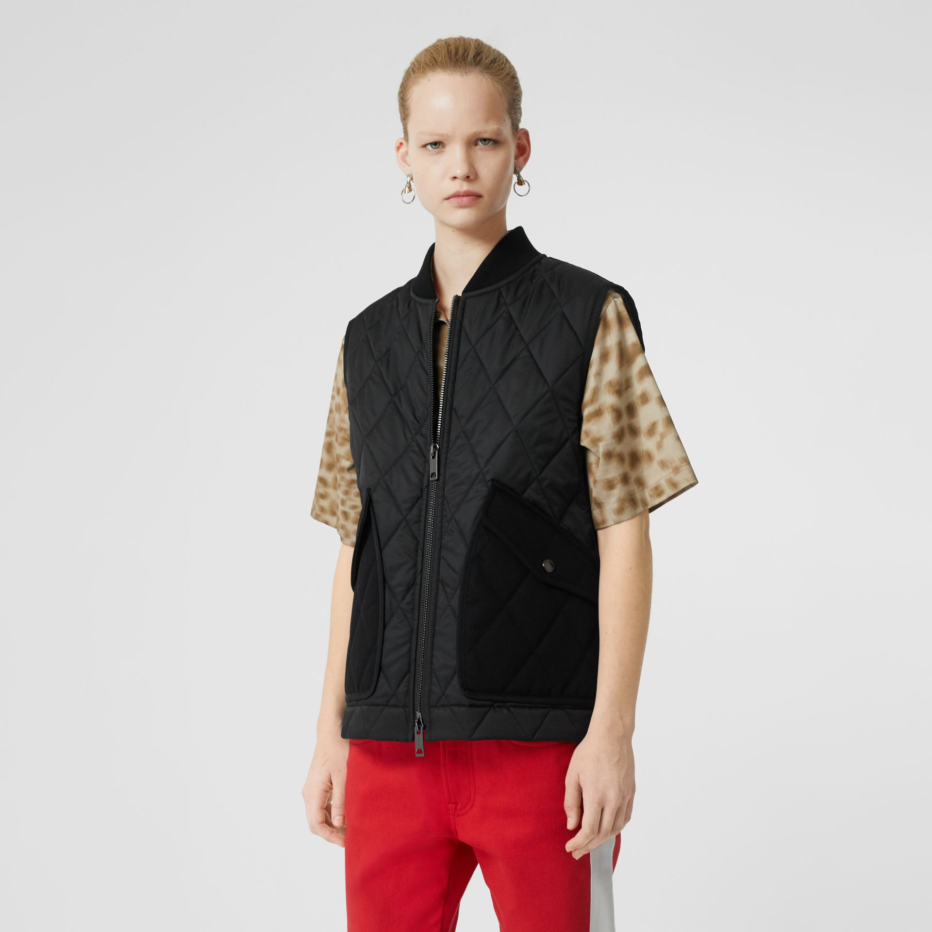 Monogram Motif Diamond Quilted Gilet in Black - Women | Burberry United Kingdom - gallery image 5