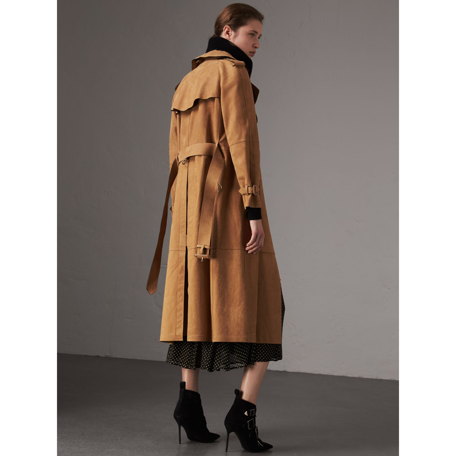 Nubuck Trench Coat in Caramel - Women | Burberry Singapore - gallery image 3