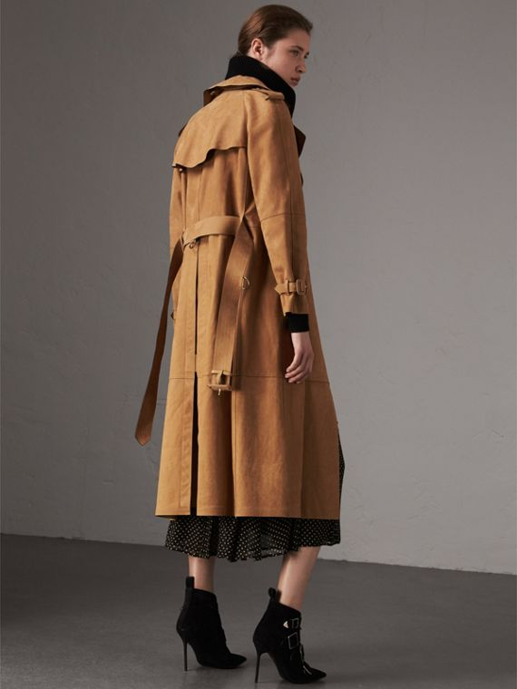 Nubuck Trench Coat in Caramel - Women | Burberry - cell image 2