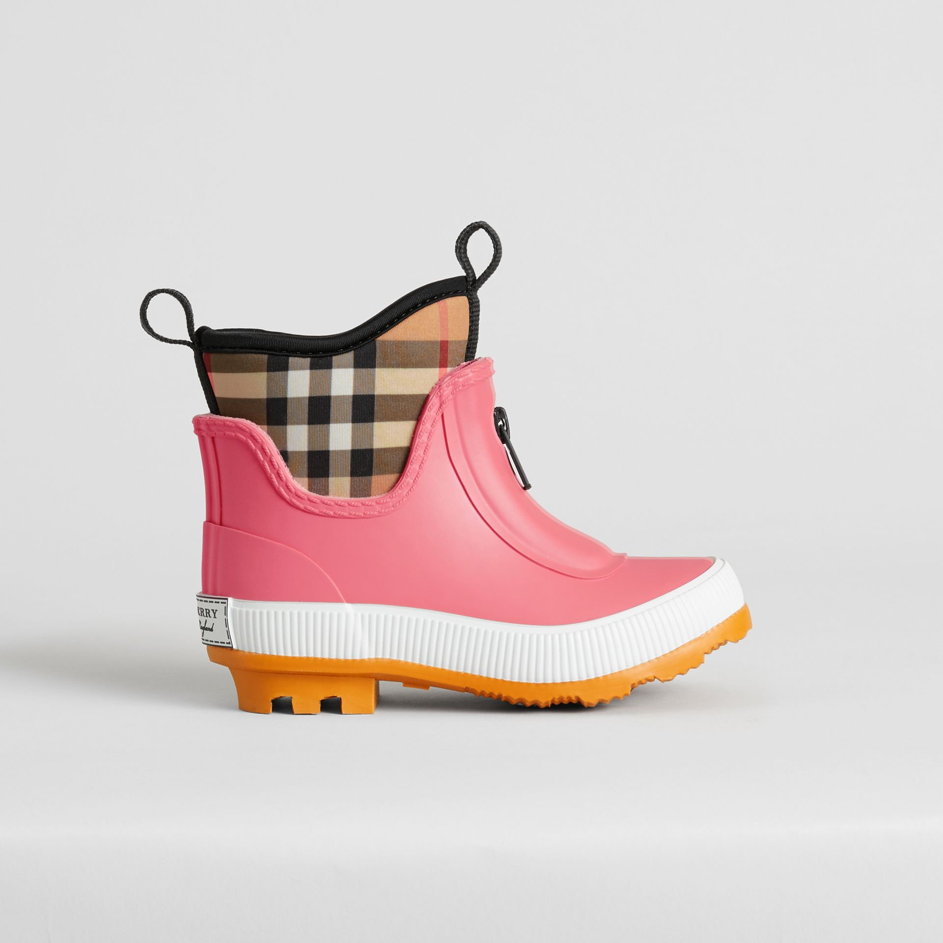 Vintage Check Neoprene and Rubber Rain Boots in Pink Azalea | Burberry Hong Kong - gallery image 3