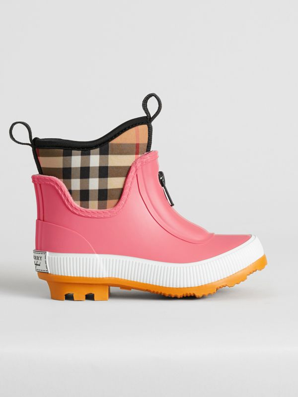 Vintage Check Neoprene and Rubber Rain Boots in Pink Azalea | Burberry - cell image 3