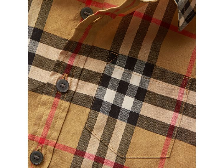 Short-sleeve Vintage Check Cotton Shirt in Antique Yellow | Burberry Australia - cell image 1