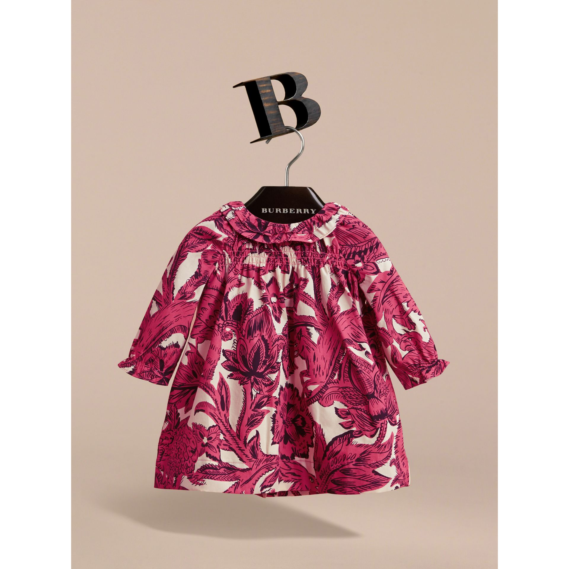 Beasts Print Cotton Smock Dress and Bloomers Set in Pink Azalea | Burberry - gallery image 2