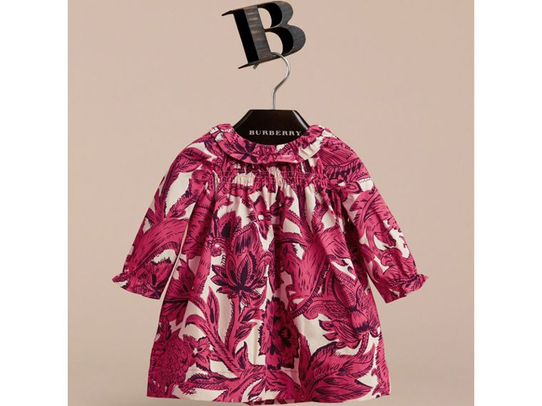Beasts Print Cotton Smock Dress and Bloomers Set in Pink Azalea | Burberry - cell image 1