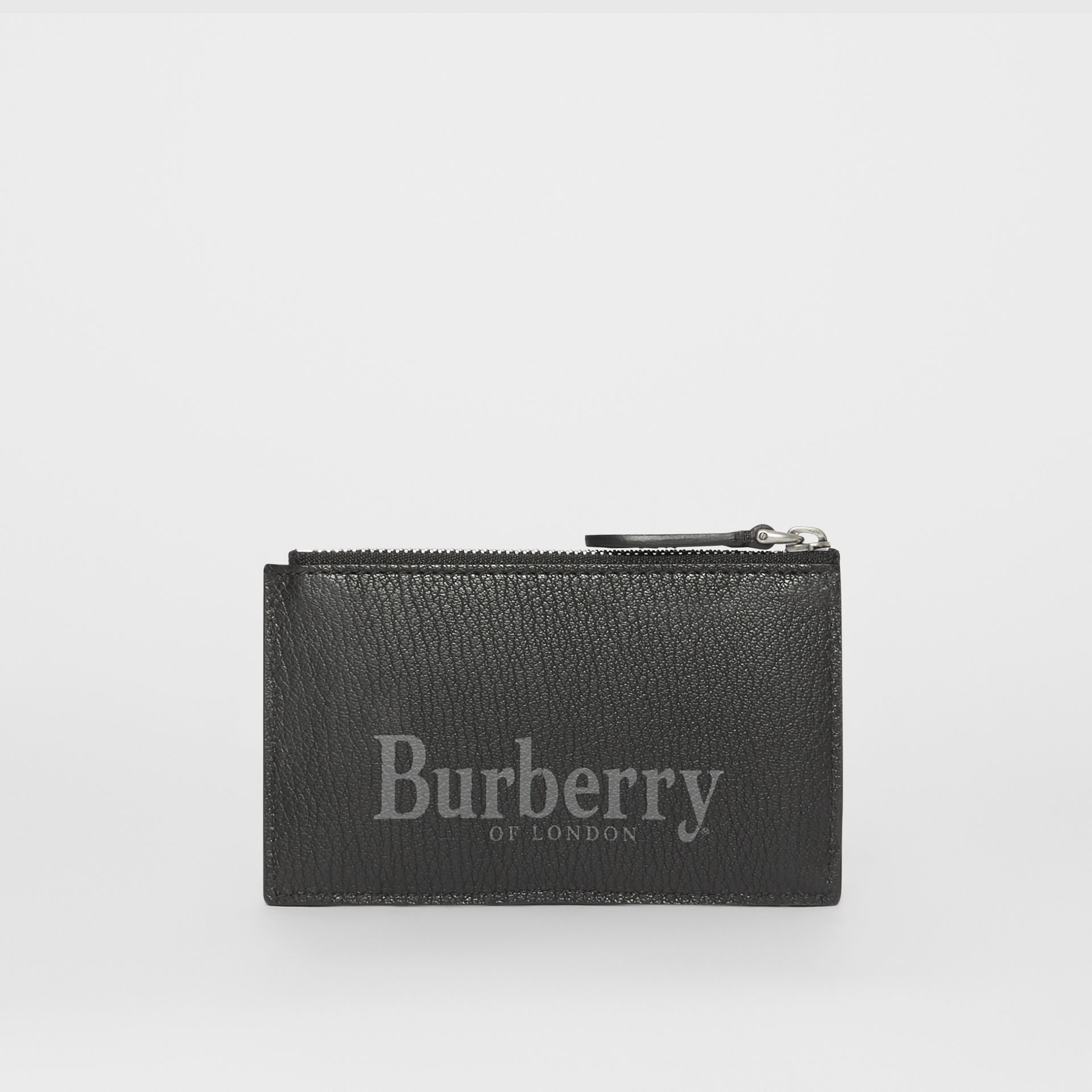 Logo Print Leather Zip Card Case in Rust Red/black - Men | Burberry - gallery image 4