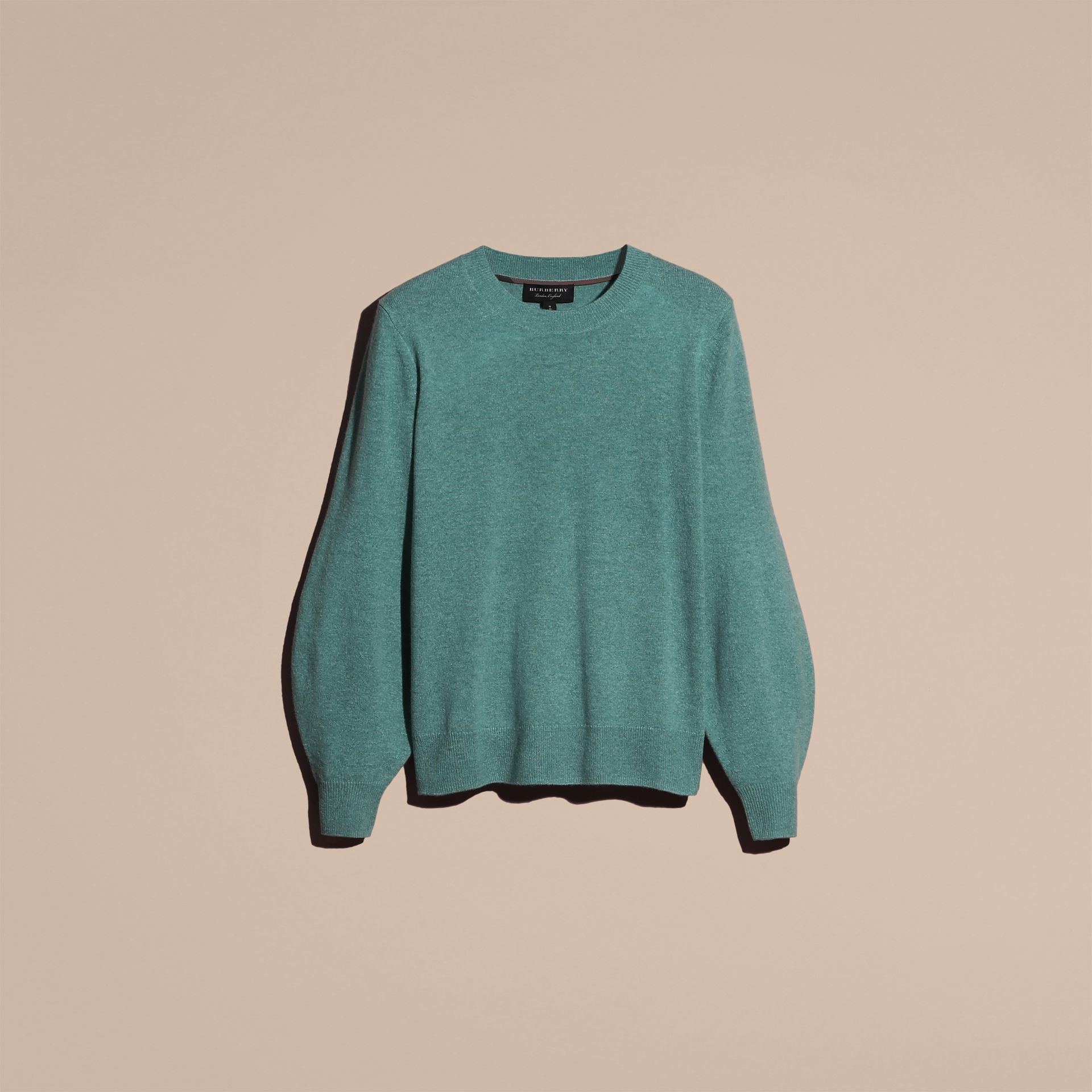 Puff-sleeved Cashmere Sweater in Dusty Teal - gallery image 4