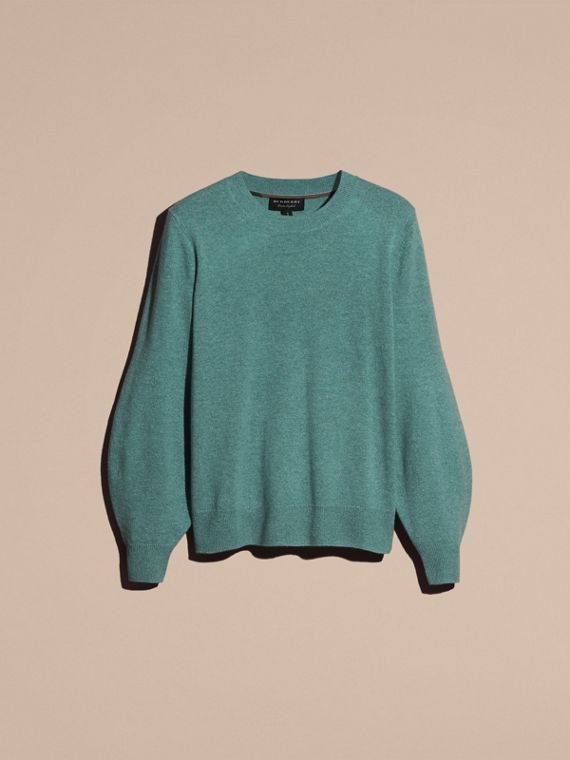 Puff-sleeved Cashmere Sweater in Dusty Teal - cell image 3
